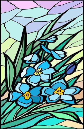 ブルーの花のBouquet with Leaves – エッチングビニールStained Glass Film , Static Cling Window Decal 26 in x 41 in B0082J2MT8 26 in x 41 in