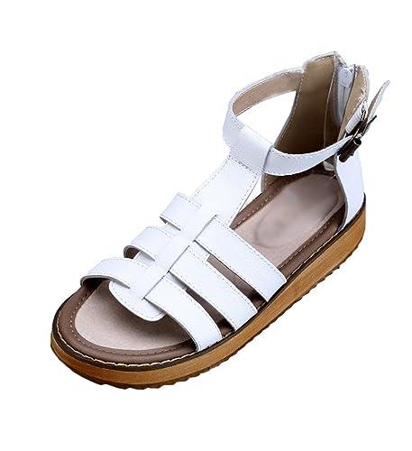 Yiiquan Damen Sommer Schuhe Flach Peep-Toe Low Schuhe Roman Sandalen Sandalette Strand