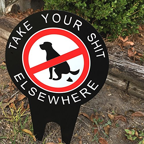JASS GRAPHIX No Dog Pooping Yard Sign Keep Your Yard and Lawn Free of pet deposits with Our Funny Double Sided Thick no Shit Sign.]()
