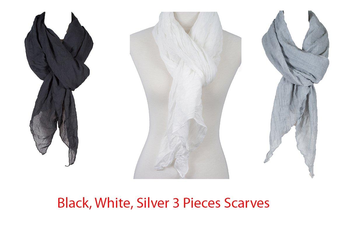 コットンソリッドカラーWrinkleリネンスカーフ、ファッションスカーフ、マルチカラー、ビーチスカーフ B079B97VR8 3 Blk_wht_slv 3 Blk_wht_slv