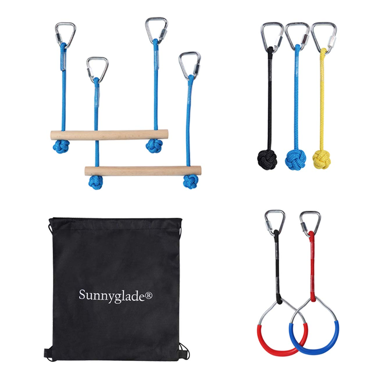 Sunnyglade Backyard Ninja Line Accessories Hanging Obstacle Course/Slackers Ninja Line Accessories for Kids - 2 Bars, 3 Fists & 2Rings by Sunnyglade
