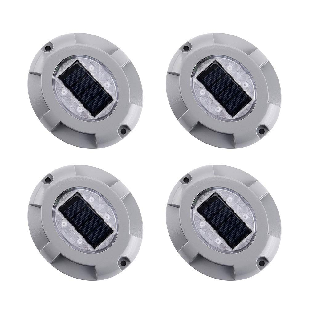 4 Pack Solar Deck Lights LED Dock Light Solar Lamps Step Road Path Stud Maker Light Waterproof Security Warning Driveway Lights for Outdoor Fence Patio Yard Home Pathway Stairs Garden(Warm White)