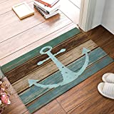 Sea Secret CHARM HOME Blue Nautical Anchor Rustic Old Barn Wood Doormats Non-Slip Indoor/Outdoor/Front Door Mat,23.6''x15.7''