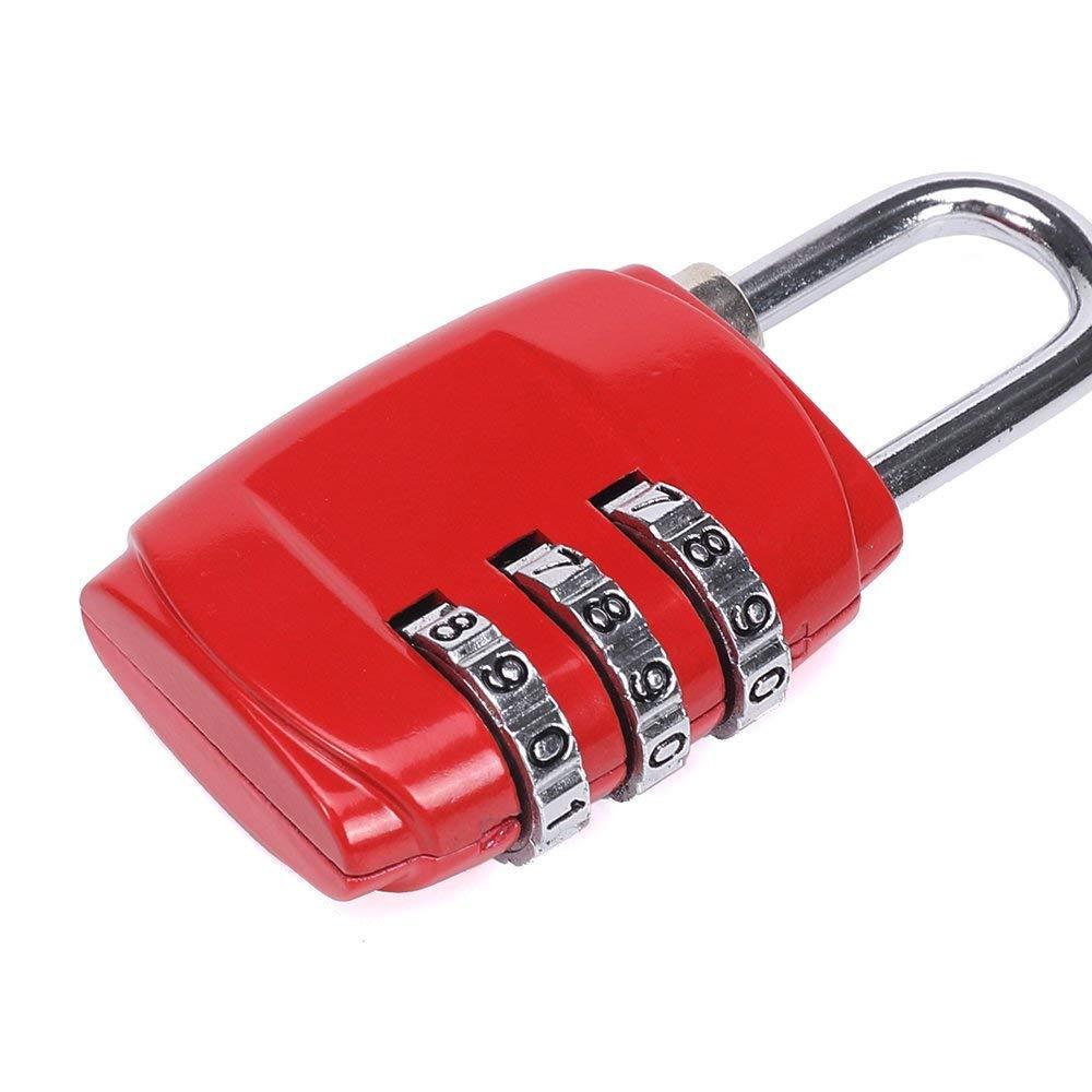 Fliyeong 1 Pcs Pratique et Pratique 3 Num/éros de Cadenas /à Code /à Combinaison num/érique Convient pour Le Sac de Bagages /École Gymnase Casiers Classeurs Rouge