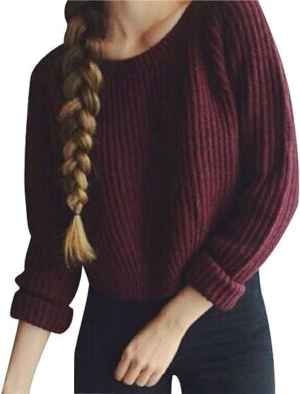 Suéter Jersey Corto Cuello Redondo Jerseys de Punto Mujer Sueter de Dama Sueteres Prendas de Punto Sueters Tejidos Manga Larga Pullover Tejido Mujeres Suéteres Invierno Jumper Anchos Tops