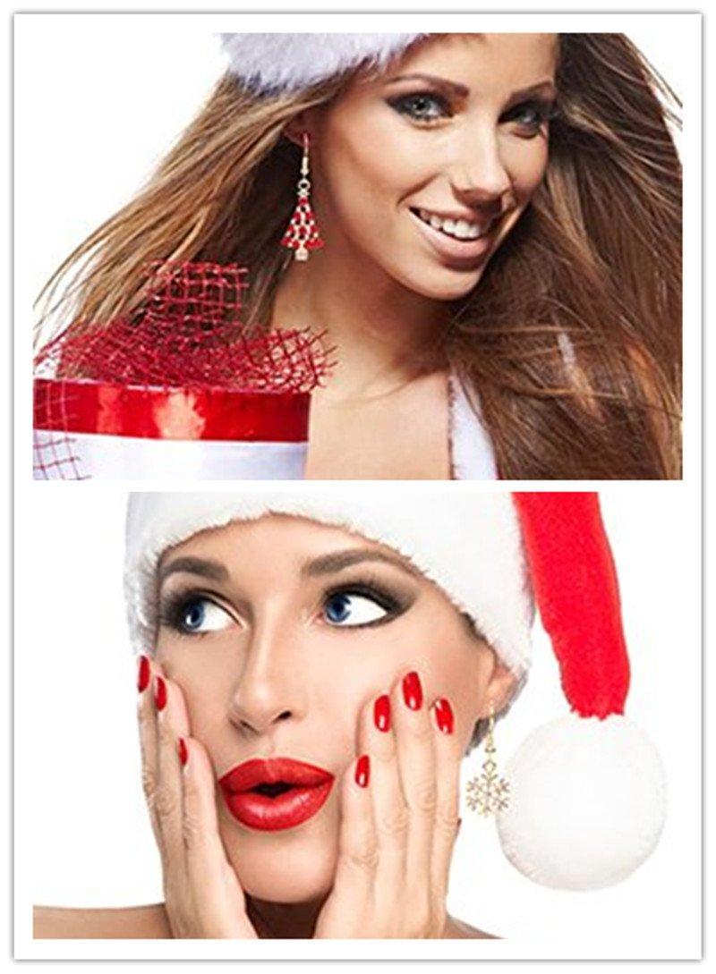 82fd240ffd083 Femmes Filles 6 paires de Boucles D oreilles de Noël Ensemble pour Cadeau  de Thanksgiving de Flocon de Neige Blanc de Noël de Bonhomme de Neige Par  ...