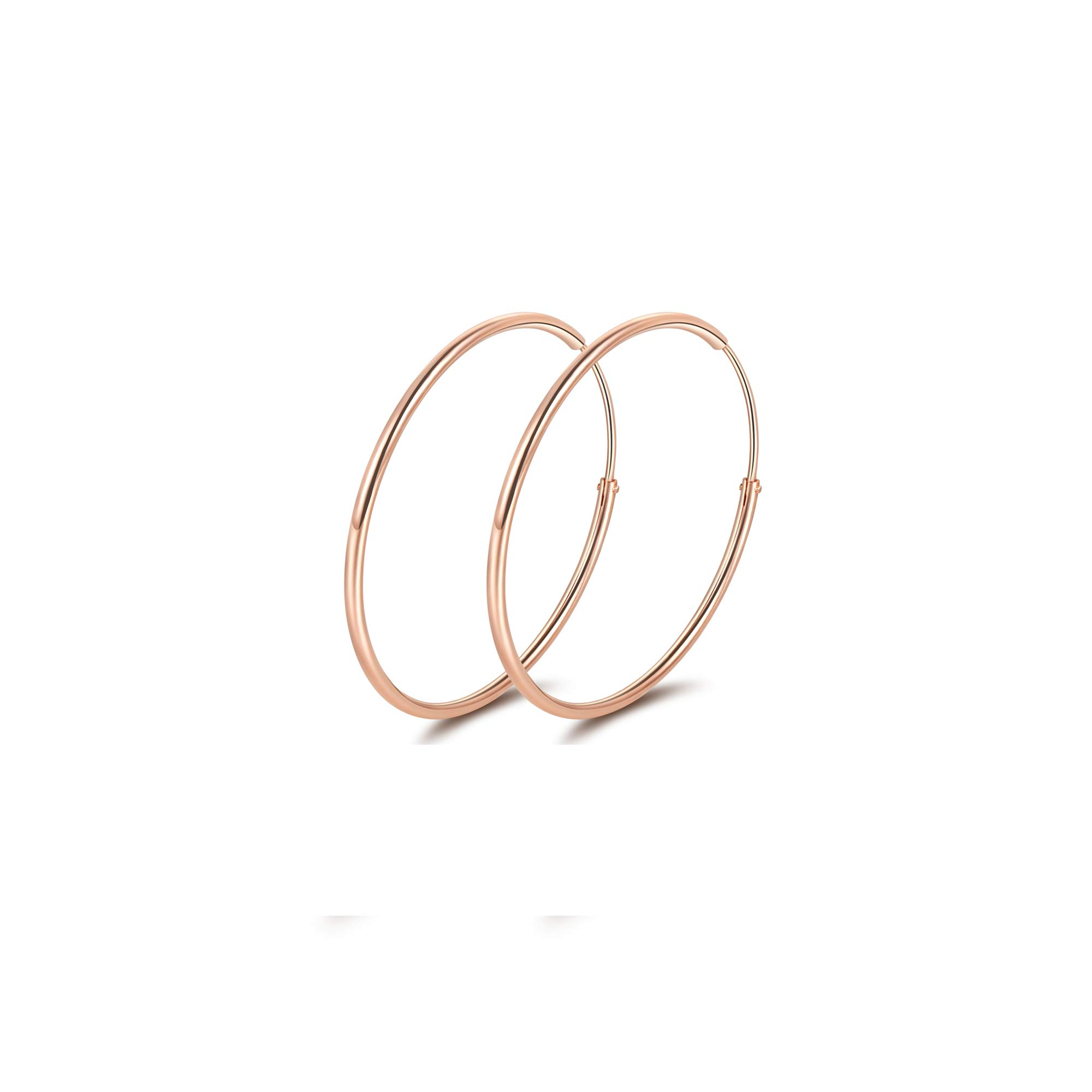 Sterling Silver Circle Endless Hoop Earrings,18K Rose Gold Plated High Polished Thin Hoops Earrings for Women (30mm)