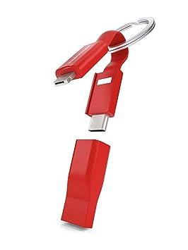 VONMÄHLEN High Five - Cable Múltiple 5 en 1 y Llavero en Rojo- Cable magnético Micro-USB - Conector 2 en 1 - Adaptador USB-C y USB-A - Innovador Cable ...
