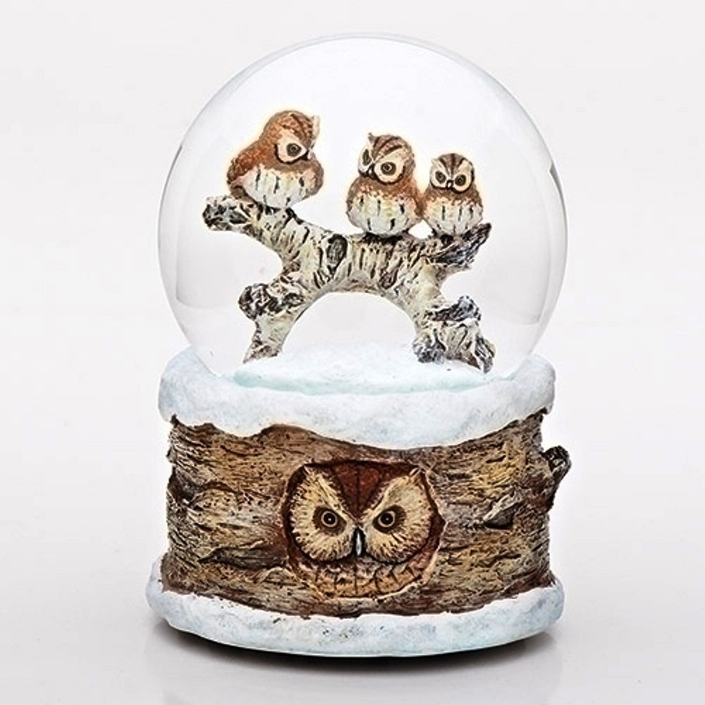 Winter Barn Owls 100mm Musical Snow Globe Plays Carol of the Bells by Unknown