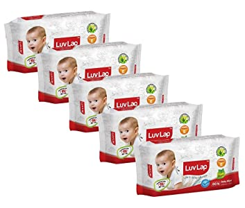 Luvlap Paraben Free Baby Wet Wipes with Aloe Vera (Pack of 5, 400 Sheets)