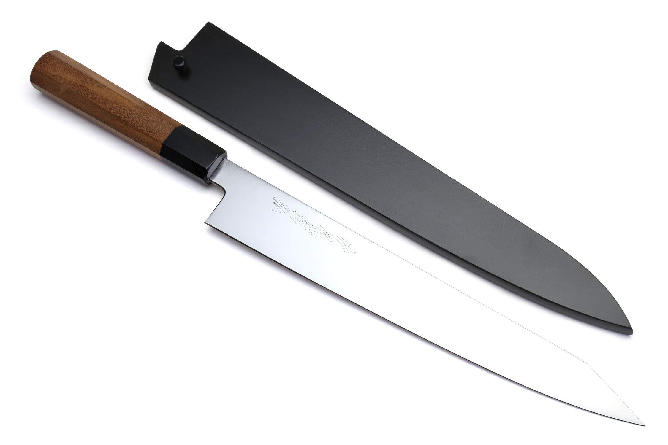 Yoshihiro VG-1 Gold Stainless Steel Sujihiki Kiritsuke Japanese Slicer Chefs Knife Ambrosia Handle w/Nuri Saya Cover (10.5'' (270mm))