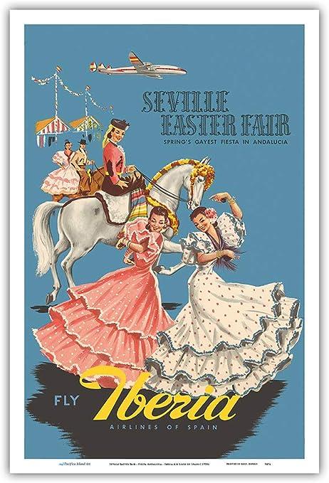 Pacifica Island Art Feria de Sevilla Pascua-Fiesta Andalucía (Andalucía)-Iberia Air Lines de España-Vintage c.1950s Cartel del Viaje de la línea aérea-Maestro Lámina-12inx18in: Amazon.es: Hogar