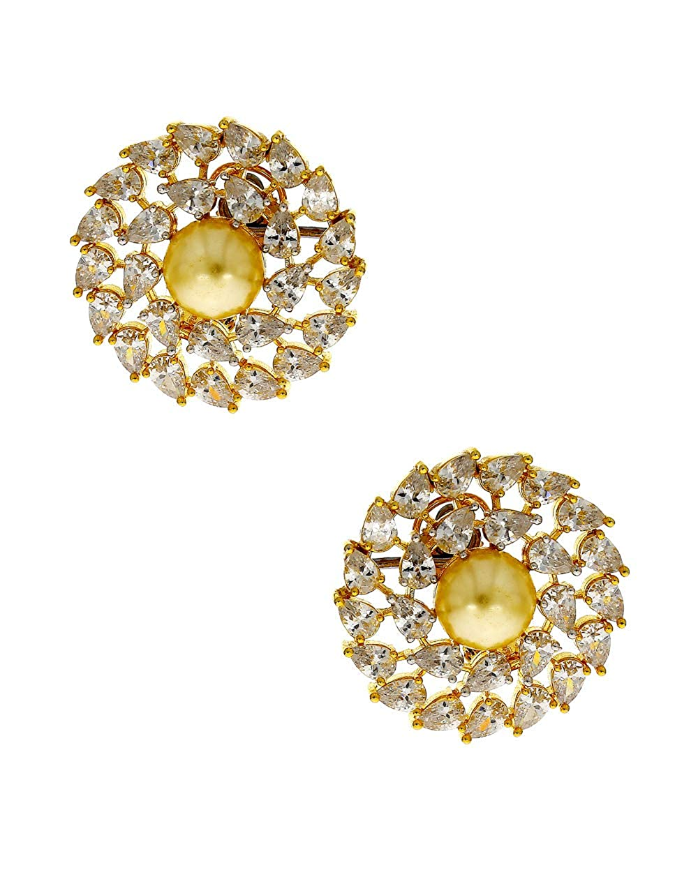 Anuradha Art Golden Finish Styled With Studded Stone Fancy Studs Earrings For Women//Girls