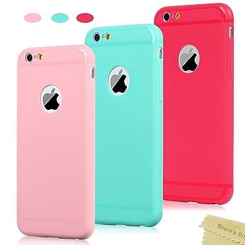 Maviss Diary 3X Funda iPhone 6, iPhone 6s Carcasa Silicona Gel Mate Case Ultra Delgado TPU Goma Flexible Funda iPhone 6s - Rojo, Rosa Claro, Verde ...