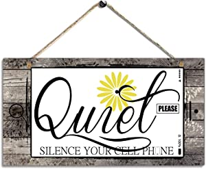 "Rustic Daisy Wood Wall Art Sign-Quiet Please Silence Your Cell Phone-Wall Decoration Hanging Door Sign for Office, Salon or Commerical Use Size 11.5"" x 6"""