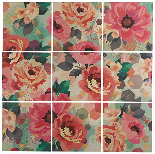 Rivet 9-Piece Pastel Floral Art Mural on Wood