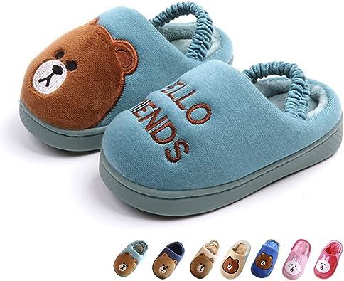 Kids Cartoon Slippers Toddler Cute Rabbit//Bear Winter Warm Plush Non-Slip Home Slippers