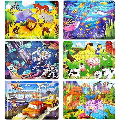 Puzzles for Kids 3 4 5 6 Years Old, 6 Pack Wooden Jigsaw Toddler Puzzles Set 60 Pieces Preschool Educational Learning Toys for Boys and Girls