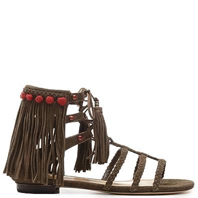 17a48eaf0cc SCHUTZ Shuli Aloe Military Green Fringe Gladiator Flat Beaded Tie Up Sandal  (6)
