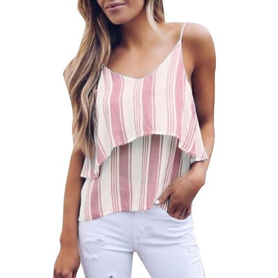 ASHOP Camisetas Muje, Camisetas Sin Mangas EN Oferta Suelto Tops Blusas de Mujer Elegantes de Fiesta Baratas Rayas Rayado Impreso T-Shirt Vest Moda 2018: ...