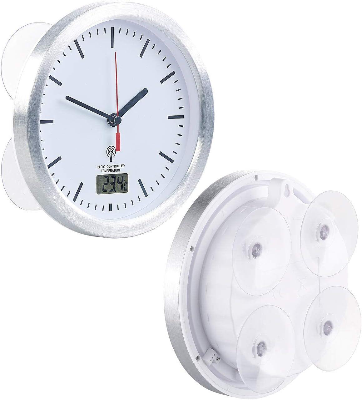 St. Leonhard Badezimmer Funkuhr: Badezimmer-Funk-Wanduhr mit Thermometer &  Saugnäpfen, Alu-Rahmen, IPX11 (Badezimmer Funkuhr mit Saugnapf)