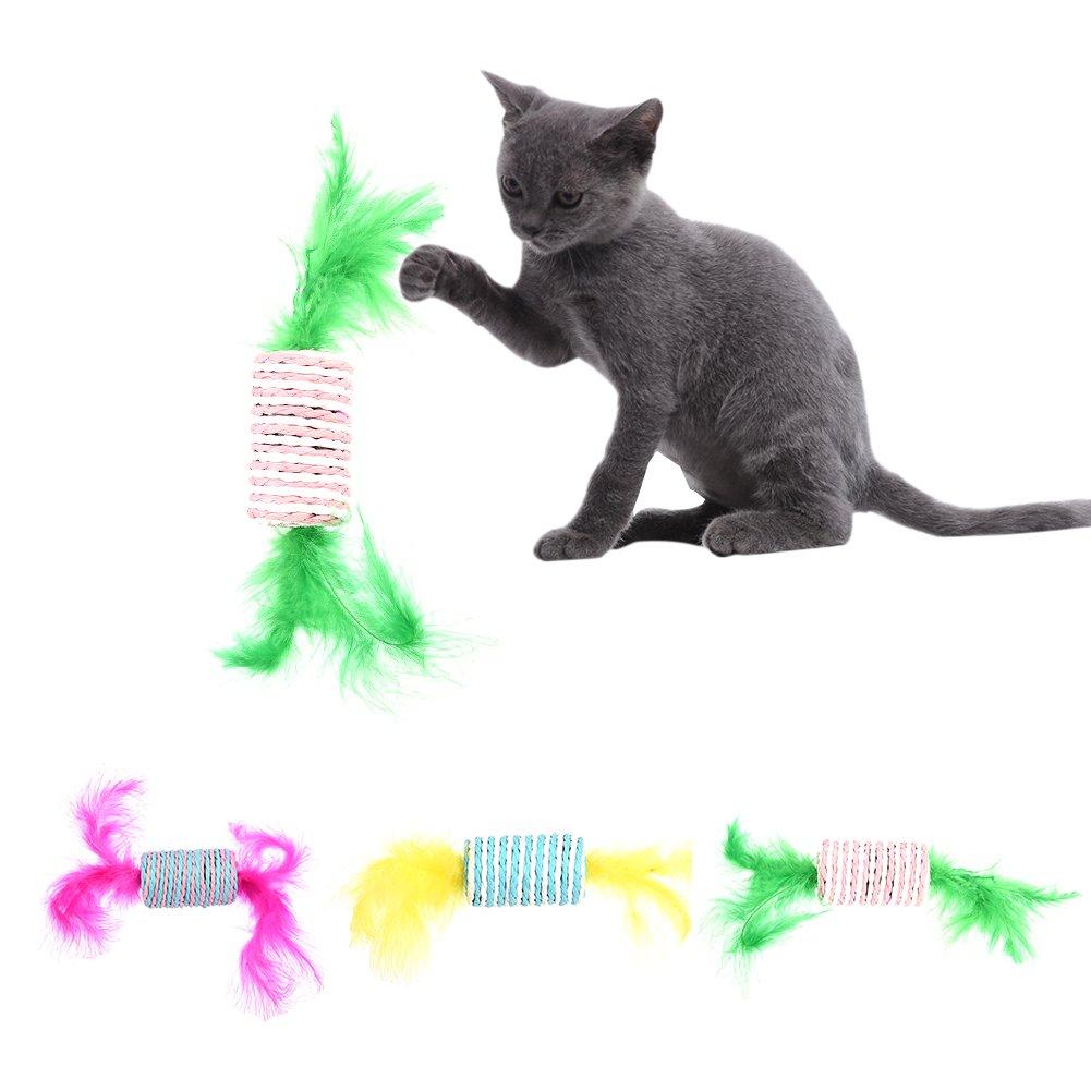 Boule de corde colorée de sisal avec des plumes longs jeu de roulement jouet à mâcher scratch pour chat animal de chien par Awhao couleur aléatoire