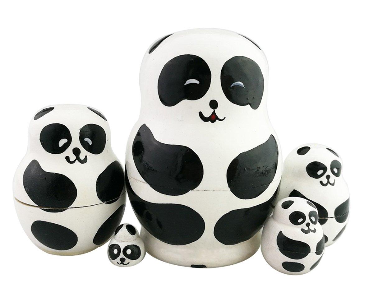 Winterworm Set of 5 Adorable Panda Novelty Doll Animal Nesting Dolls Wooden Stacking Toy Handmade Matryoshka Doll Kids Toy Gifts Panda Ornament Panda Party Supplies
