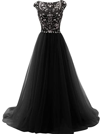 JAEDEN Long Prom Dress Crystal Tulle Evening Dresses Beading Party Gown Black US2
