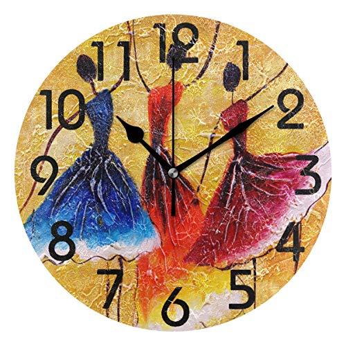 Dozili Stylish Three Spanish Dance Painting Art Print Round Pattern Round Wall Clock Arabic Numerals Design Non Ticking Wall Clock Large for Bedrooms,Living Room,Bathroom