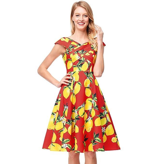 antaina Cuello Cruzado Vintage Estampado Mango Rojo Vestido de Mujer Plisado Line