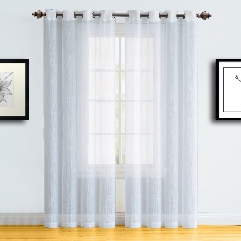 Warm Home Designs Pair of Full Width, Extra Long Length 55'' x 108'' White Color Semi-Sheer Crushed Window Curtains. Semi Sheer Drapes Allow Light In, While Giving Some Privacy. RI White 108