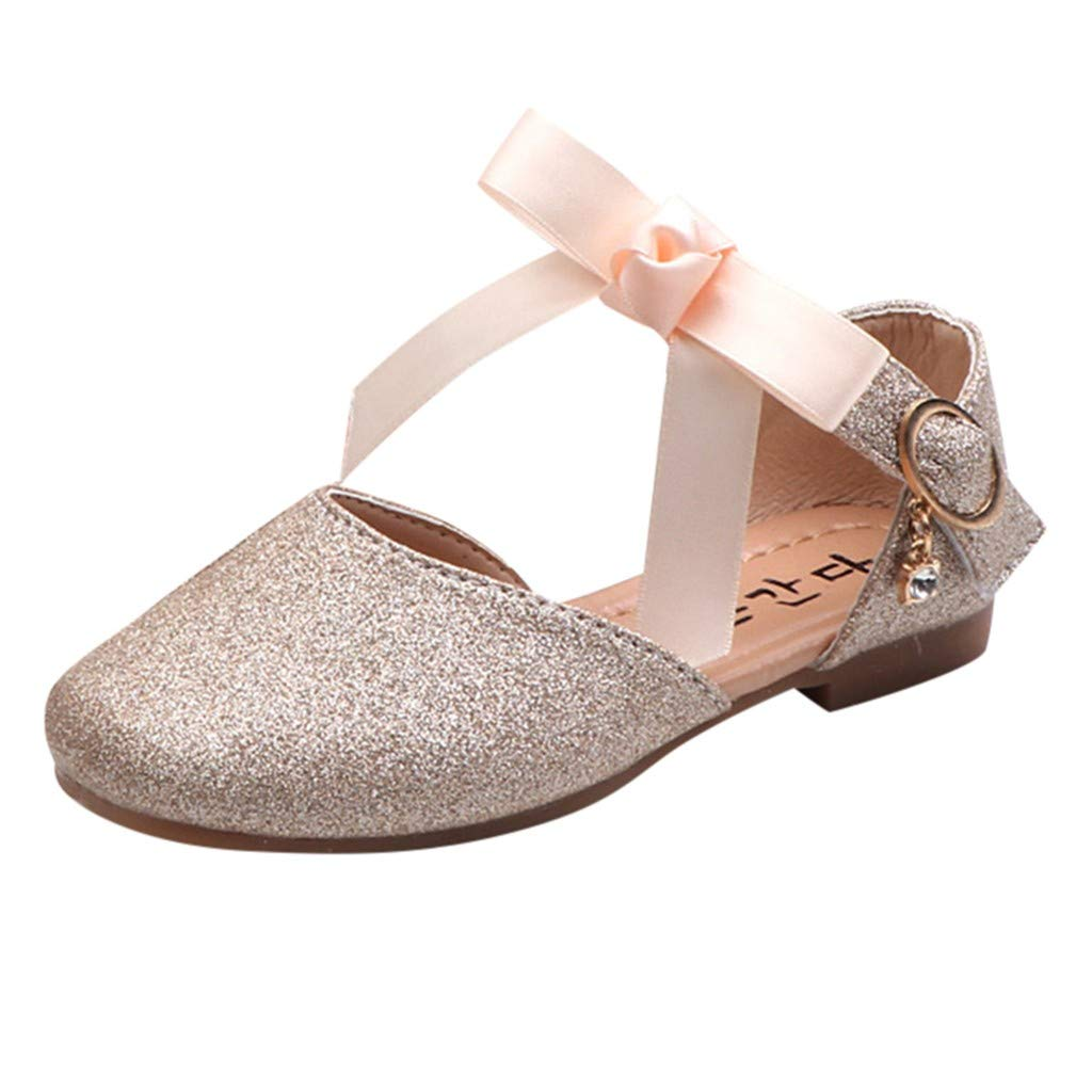 Little Girls Princess Shoes with Bowknot Leather Sequins Flat Single Shoes Buckle Adorable Mary Jane Shoes Princess Party Dress Shoes for Toddlers & Girls