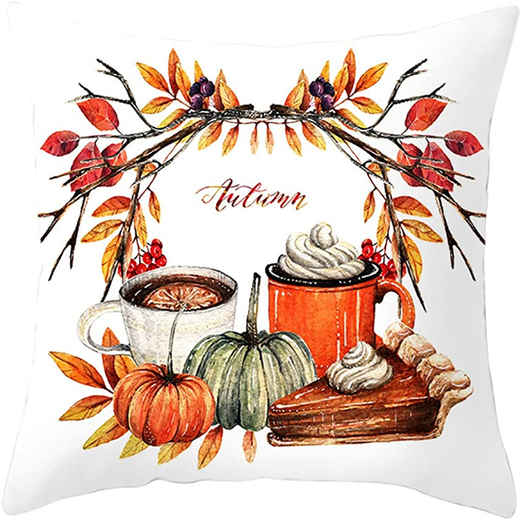 Estampado Coronas de Oto/ño Calabaza coj/ín funda para Halloween Thanksgiving Plaza Almohada coj/ín Decorativo con Cierre de Cremallera Oculto para los sof/ás de la Familia Funda de almohada Halloween
