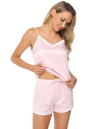 b81f6a237d Aibrou Nachtwäsche Schlafanzug Damen Satin Pyjama Set Kurz Träger Nachthemd  Zweiteiliger V-Ausschnitt ...