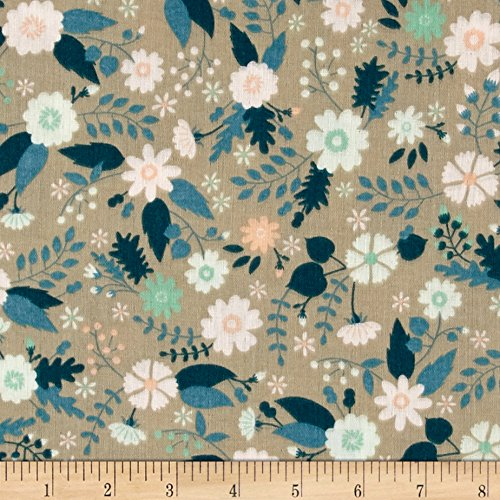 Ciana Bodini Double Gauze Floral Taupe Fabric By The Yard