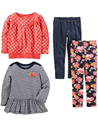 Toddler Girls' 4-Piece Long-Sleeve Shirts and Pants...
