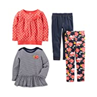 Toddler Girls' 4-Piece Long-Sleeve Shirts and Pants Playwear Set