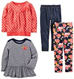 Simple Joys by Carter's Toddler Girls 4-Piece Playwear Set, Red Dot, 4T