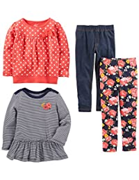 Simple Joys by Carter's Toddler Girls 4-Piece Playwear Set, Red Dot, 2T