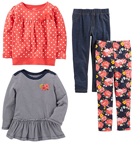 Simple Joys by Carter's Toddler Girls 4-Piece Playwear Set, Red Dot, 3T