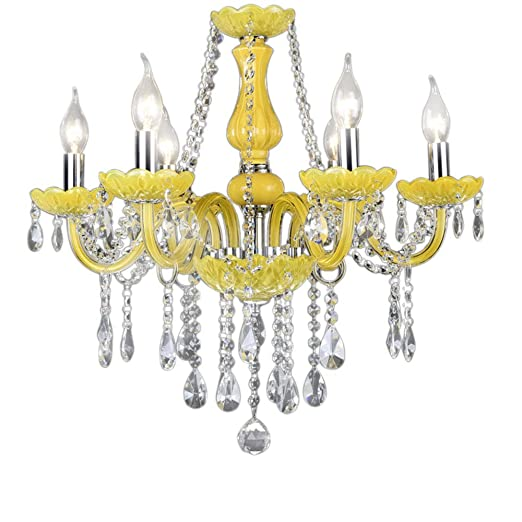 fe43cd6336 European Style Luxurious Crystal Chandelier Yellow Glass Candle ...