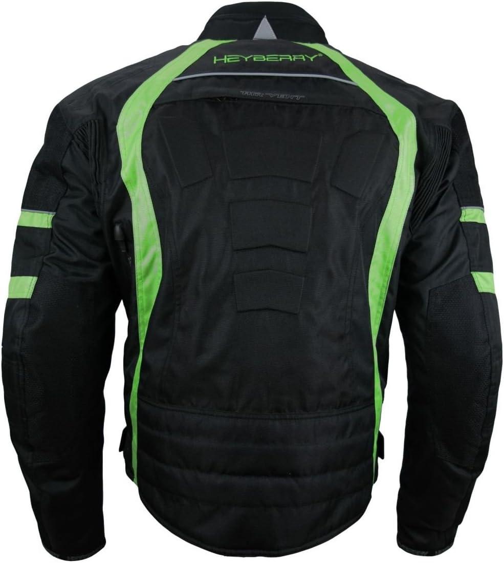 6XL HEYBERRY Kurze Textil Motorrad Jacke Motorradjacke Schwarz Gr