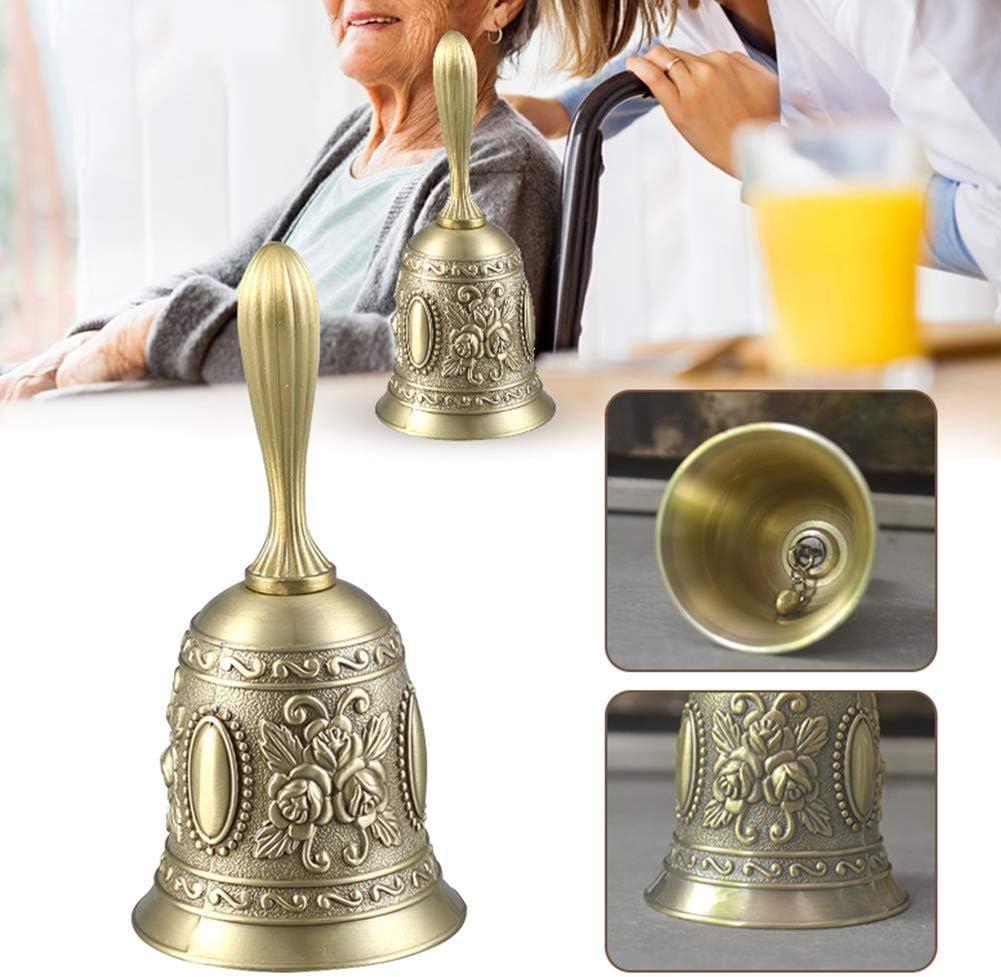 en laiton massif poign/ée en bois /École R/éception D/îner bois Boutique H/ôtel main Cloche dor R Romote main Bell SODIAL