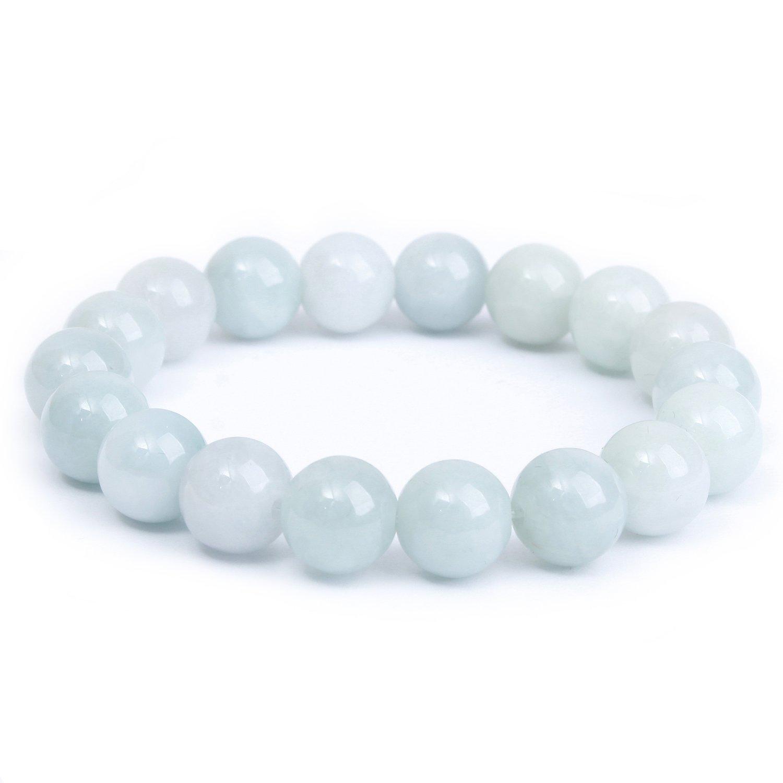 MOON FAIRY (Snowy Moonshine) 9.5mm Precious Natural Greenish-white Jadeite Elastic Beaded Bracelet