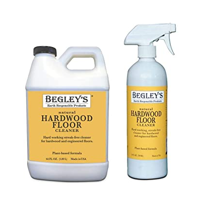 Begley's Best Earth Responsible Natural Plant-Based Hardwood Floor Cleaner  Refill Set, 24 Spray Bottle and 64 oz Refill, Fresh Citrus Scent