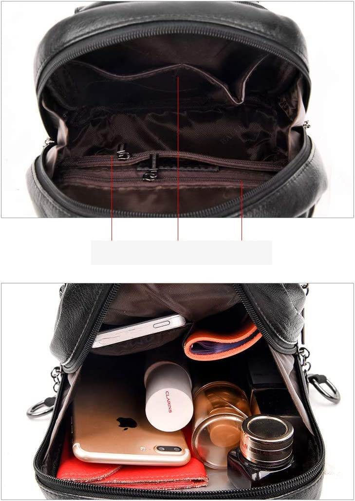 Black//Blue//Red//Purple//Bronze PU Leather Haoyushangmao Girls Multi-Purpose Backpack for Daily Travel//Travel//School//Work//Fashion//Leisure Simple Fashion