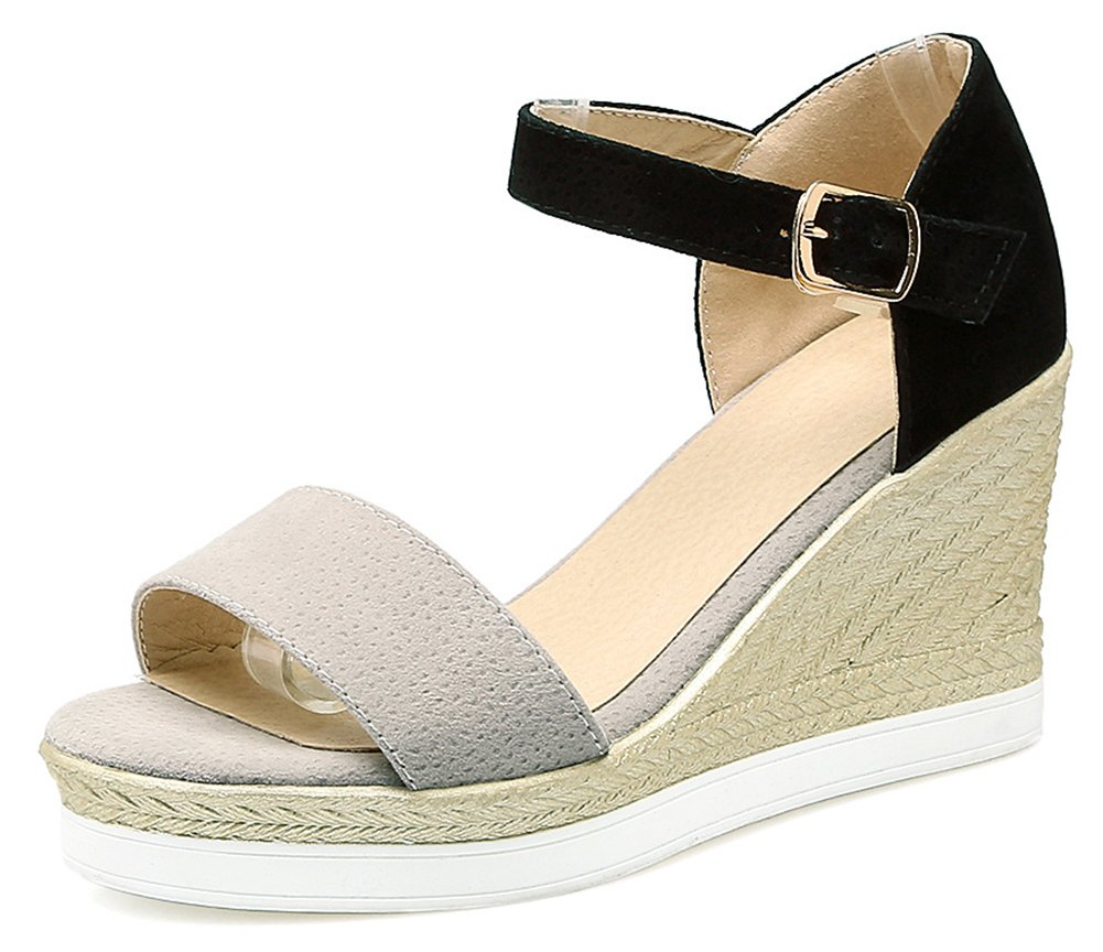 Aisun Women's Open Toe Wedge Sandals with Ankle Strap - Buckled Platform Casual - Color-Contrasted High Heel B07CRKZ668 5 B(M) US|Gray