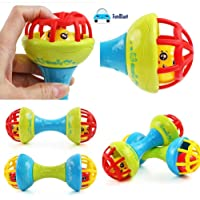 FunBlast Rattles for Kids, Rattles Bells Shaking Dumbbells Early Development Toys for Infants (Set of 2 Pieces)