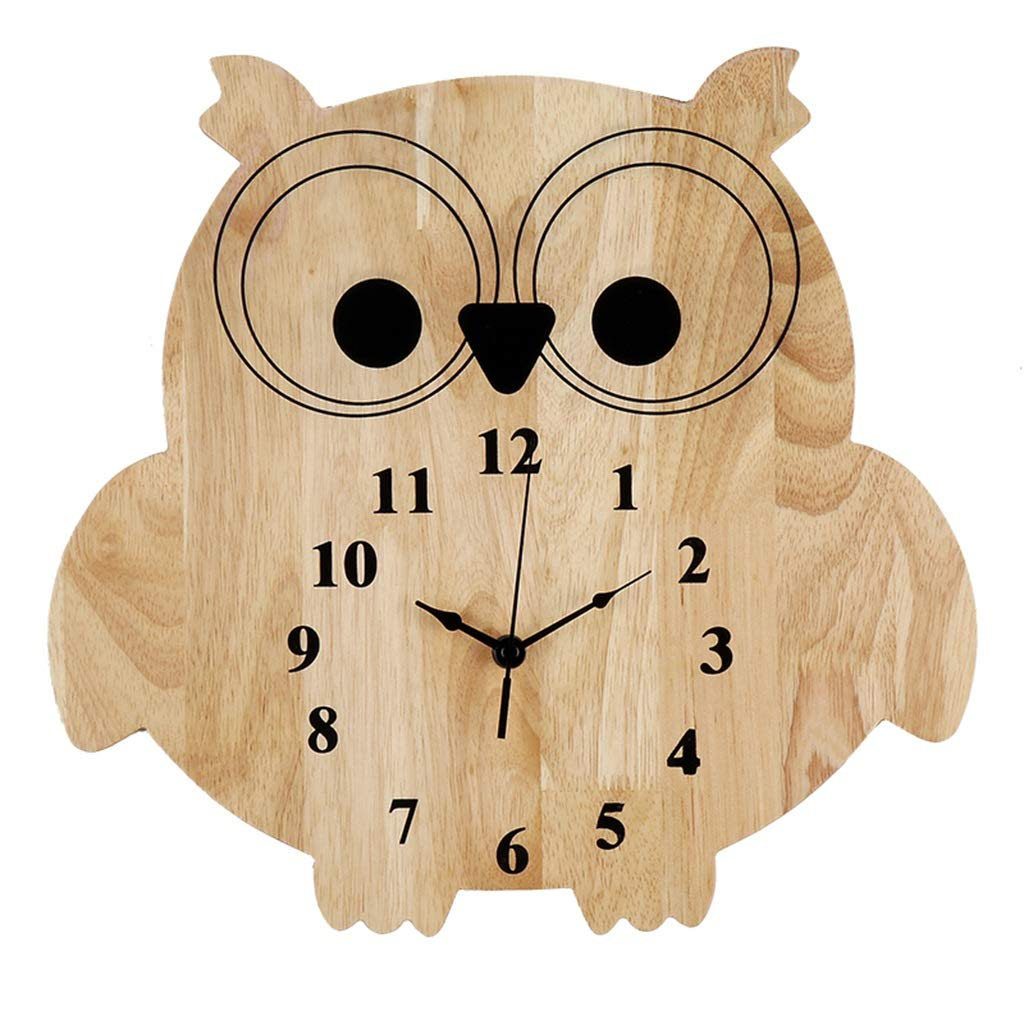 FJKAHGA Wooden Wall Clock, Silent Non-Ticking Kitchen Large Quartz Analog Wall Clocks with Metal Pointer for Indoor Living Room Bedroom Office Decor Battery Operated,Natural Wood