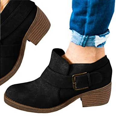 1eb6ae4d86341 Amazon.com: PiePieBuy Women's Closed Toe Strap Suede Ankle Booties ...
